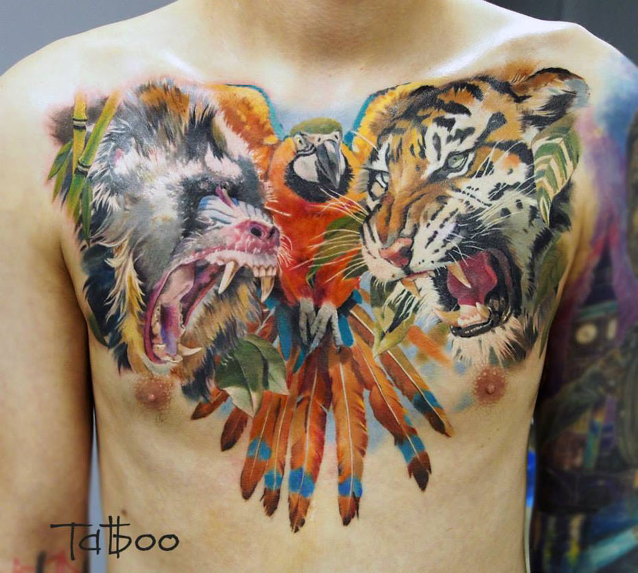 Tiger And Dragon Full Chest Piece: Animals Chest Piece With A Baboon, Parrot & Tiger