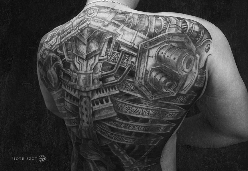 Biomechanical Full Back Tattoo