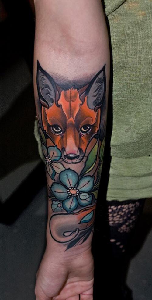 Fox & Flowers Tattoo