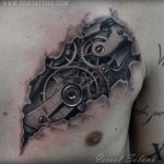 Gears Chest Tattoo