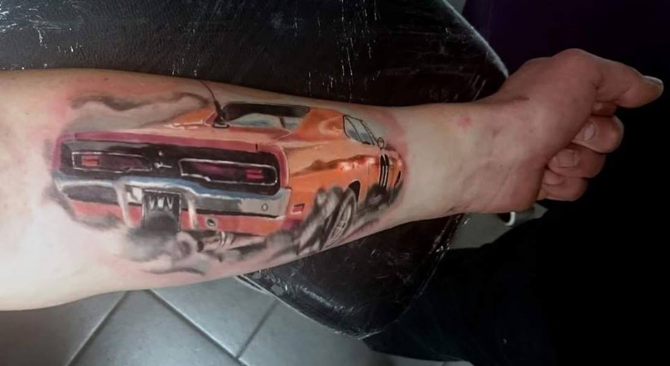 general lee dukes of hazzard tattoo best tattoo design ideas. Black Bedroom Furniture Sets. Home Design Ideas