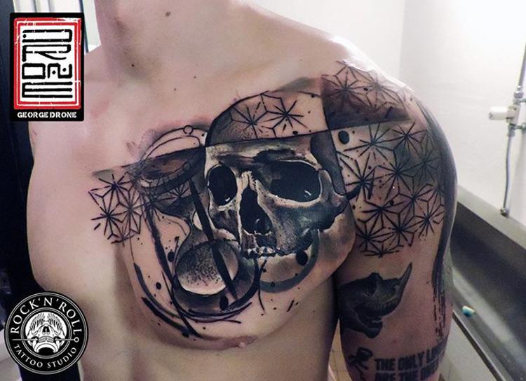 Hourglass & Skull Chest Tattoo