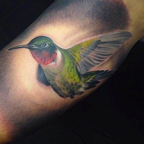 Hummingbird Tattoo On Front Shoulder