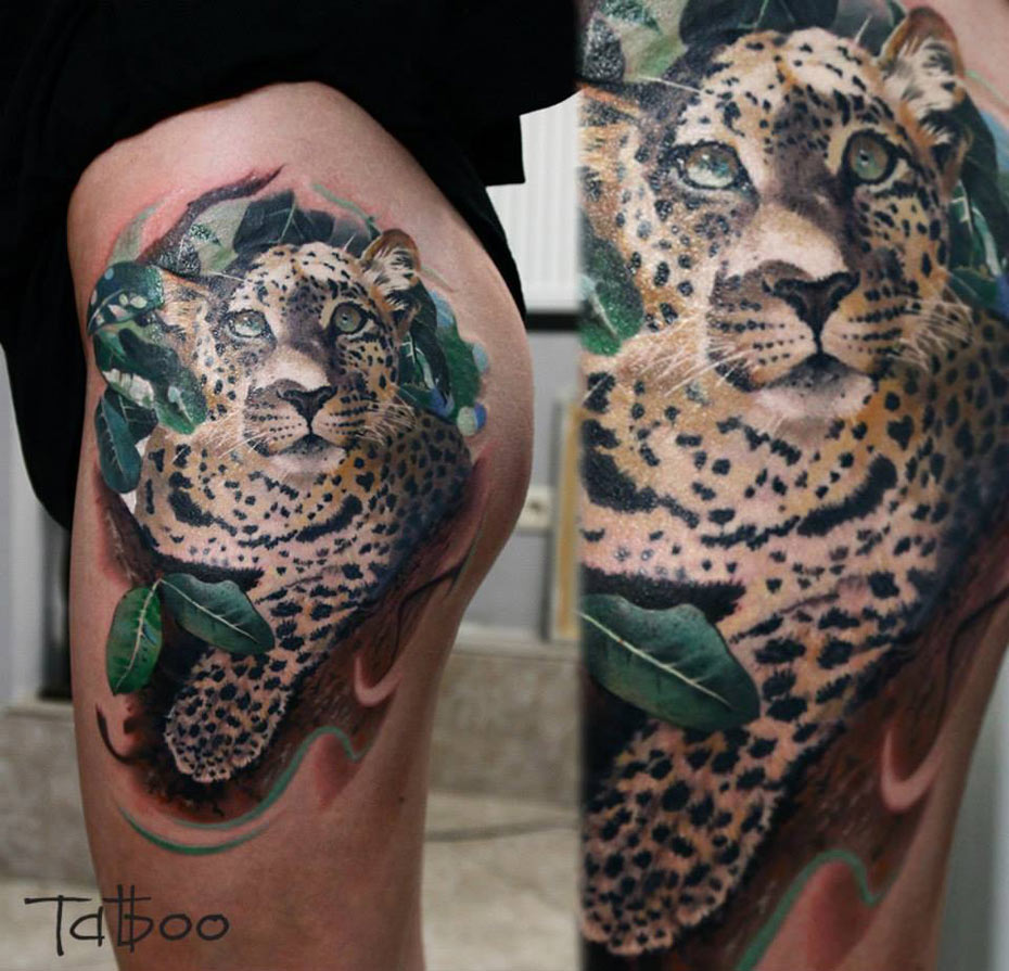 Leopard Hip Tattoo