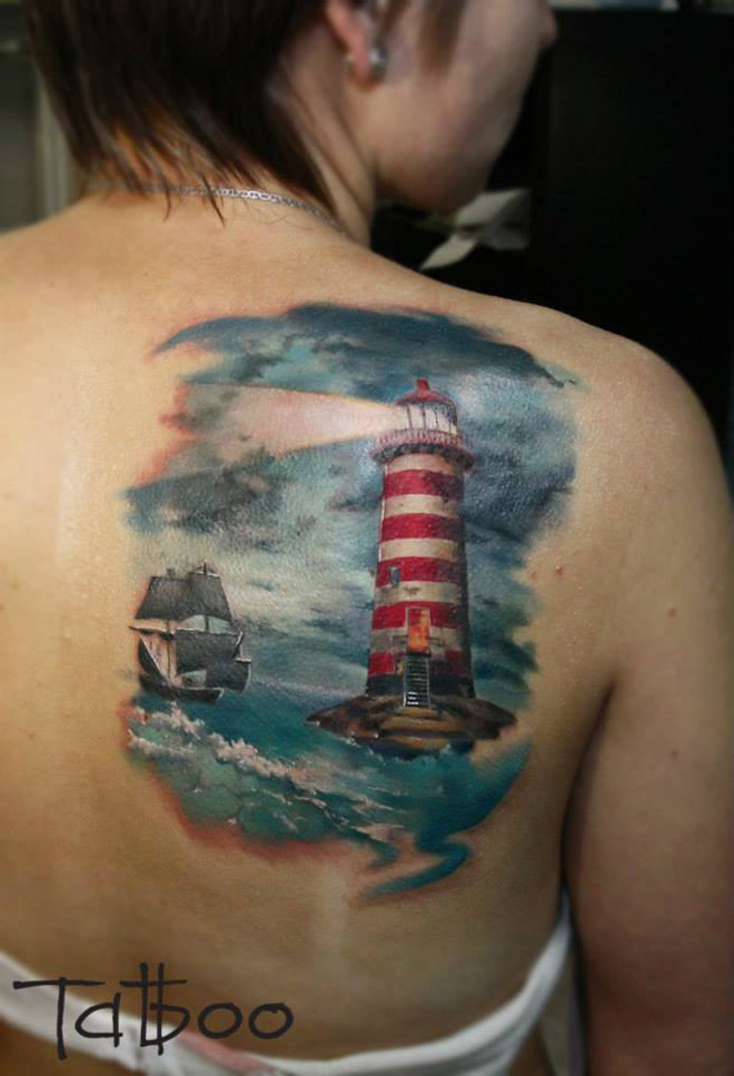 Lighthouse Warning A Sailing Ship Water Scene Best