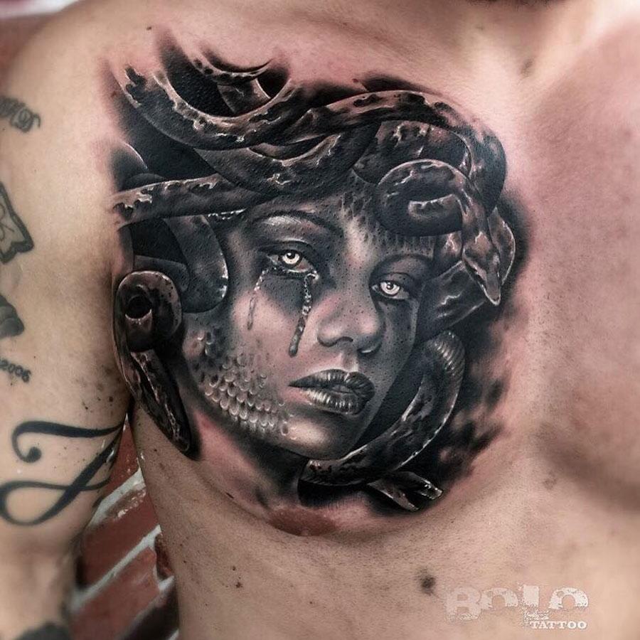 medusa chest tattoo best tattoo design ideas. Black Bedroom Furniture Sets. Home Design Ideas
