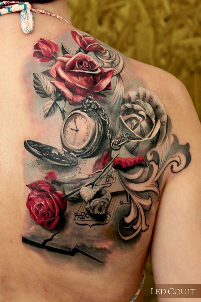 music roses back piece best tattoo design ideas. Black Bedroom Furniture Sets. Home Design Ideas