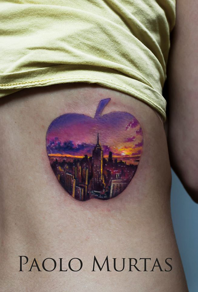 new york apple tattoo best tattoo design ideas. Black Bedroom Furniture Sets. Home Design Ideas