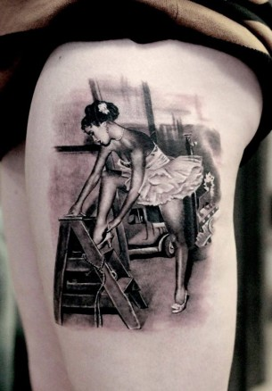 Realistic Dancer Tattoo