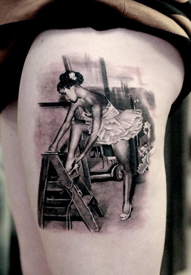 Realistic Dancer Tattoo