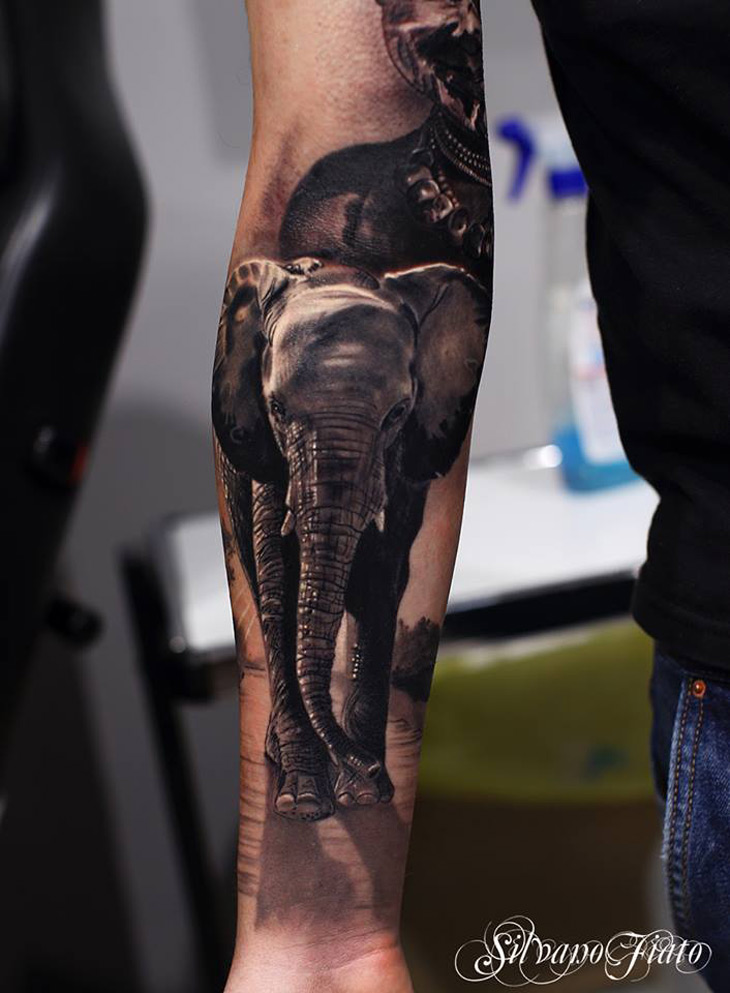 realistic elephant sleeve best tattoo design ideas. Black Bedroom Furniture Sets. Home Design Ideas