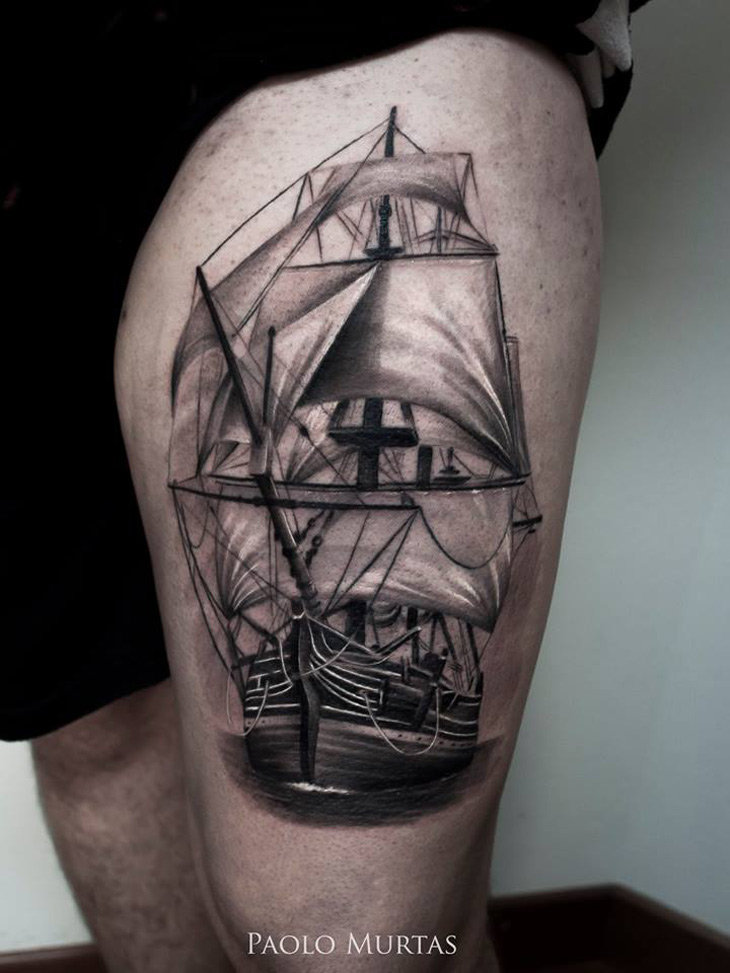 sailing ship thigh tattoo best tattoo design ideas. Black Bedroom Furniture Sets. Home Design Ideas