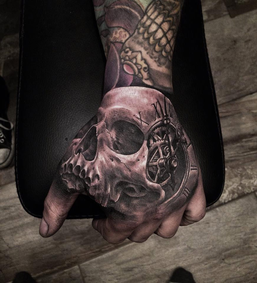 Skull & Clock Hand Tattoo