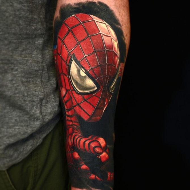 realistic spiderman tattoo best tattoo design ideas. Black Bedroom Furniture Sets. Home Design Ideas
