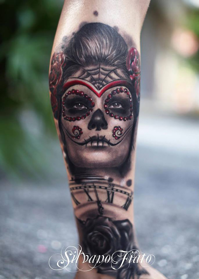 Sugar Skull with Clock & Rose