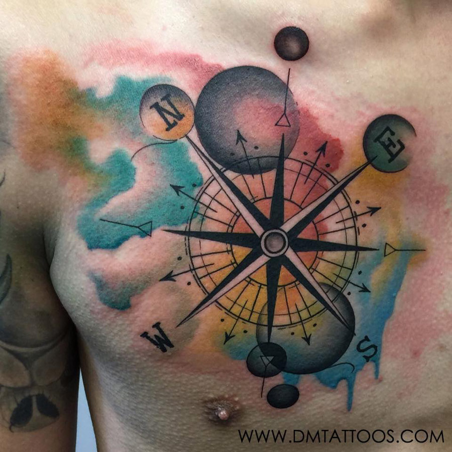 Watercolor Compass Chest Tattoo | Best tattoo design ideas