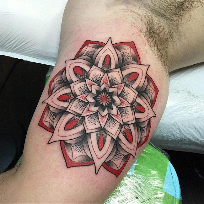 Red Mandala Arm Tattoo