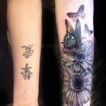 Butterfly & Flowers Forearm Tattoo