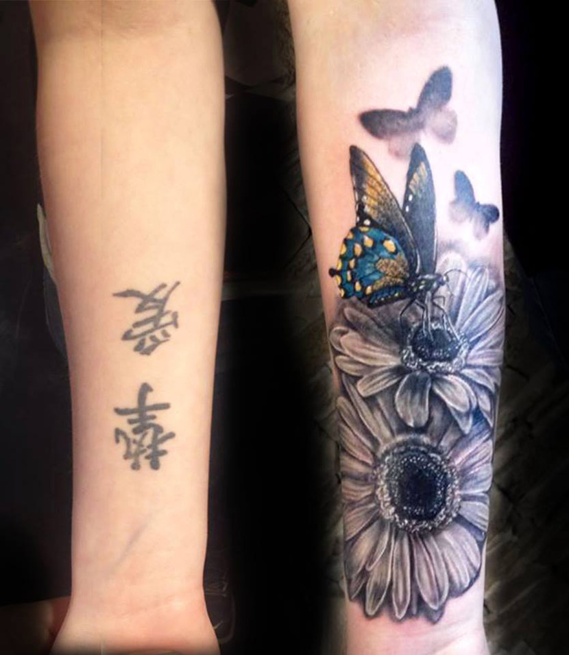 Flowers & Butterflies Forearm Tattoo