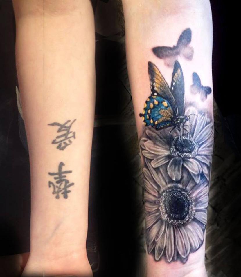 Flowers & Butterflies Forearm Tattoo