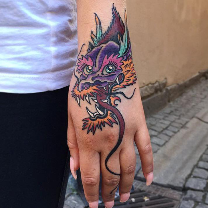 Colorful Dragon Hand Tattoo