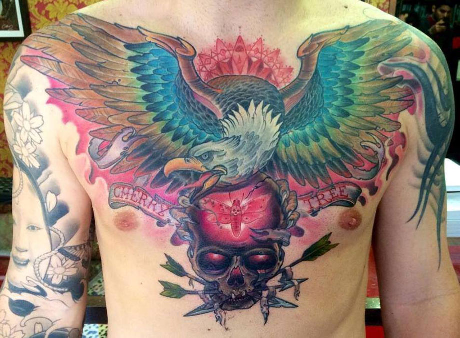 Eagle & Skull Chest Tattoo