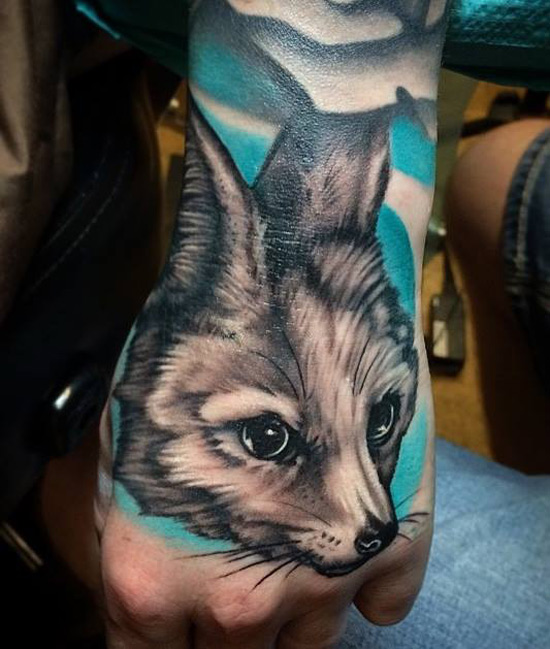 Fennec Fox Hand Tattoo