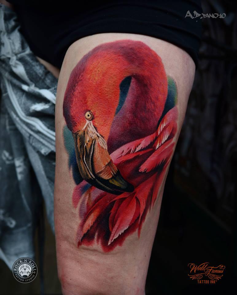 Flamingo Thigh Tattoo