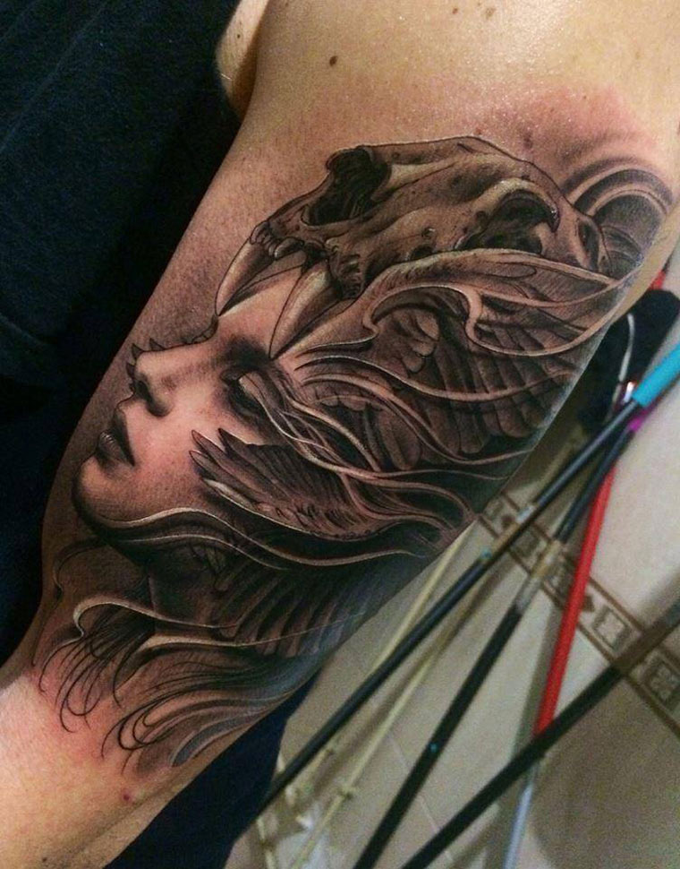 Girl 39 s portrait with skull on head arm tattoo best for Girl head tattoo