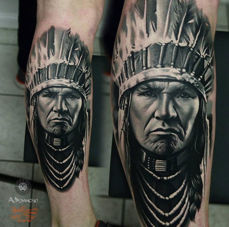 Indian Portrait With Headdress Best Tattoo Ideas Amp Designs border=