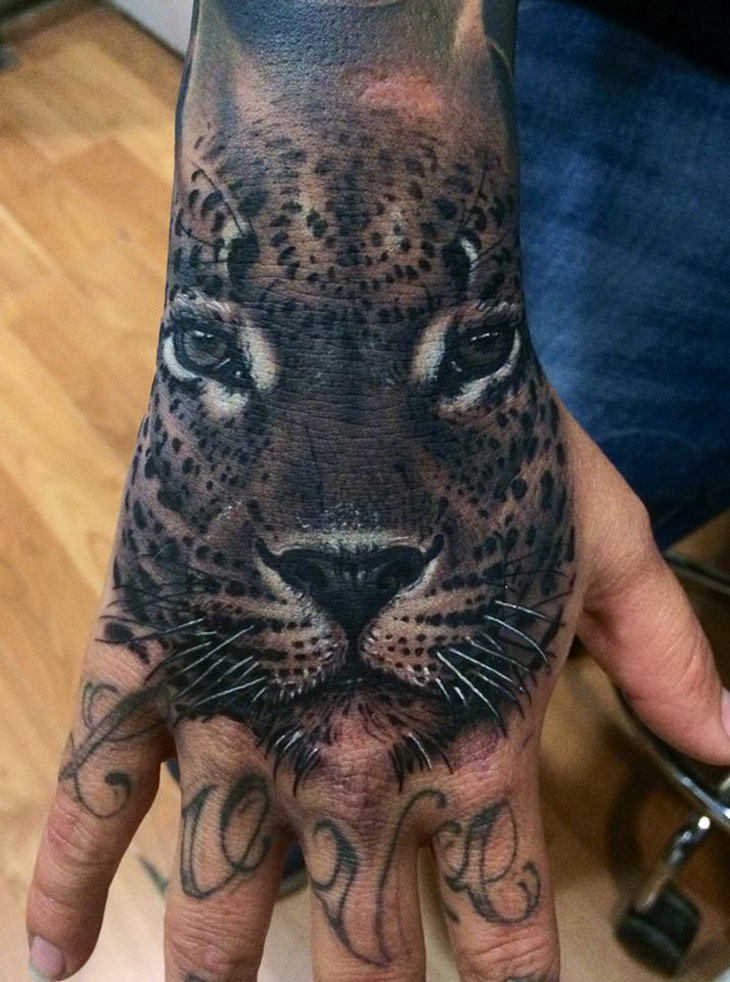 Realistic leopard hand piece best tattoo design ideas for 3d hand tattoo