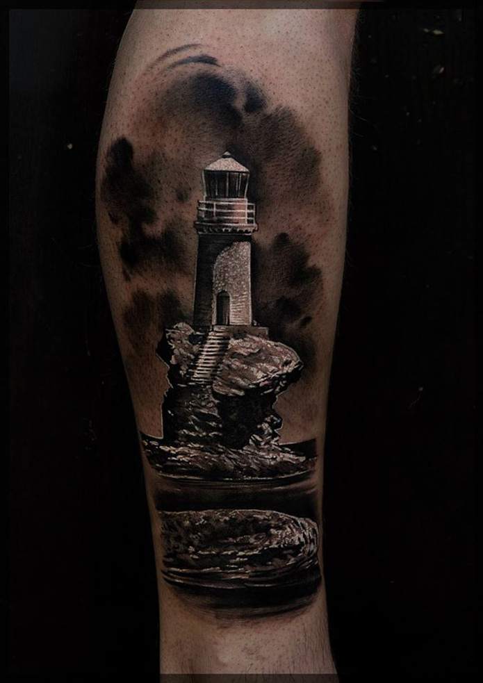 lighthouse on the rocks best tattoo design ideas. Black Bedroom Furniture Sets. Home Design Ideas