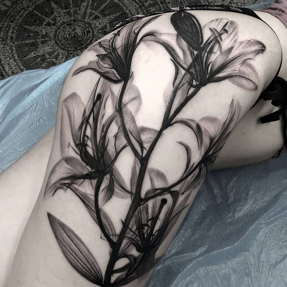 Lilies Hip Tattoo