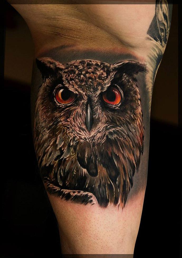 Owl With Burning Orange Eyes | Best tattoo design ideas