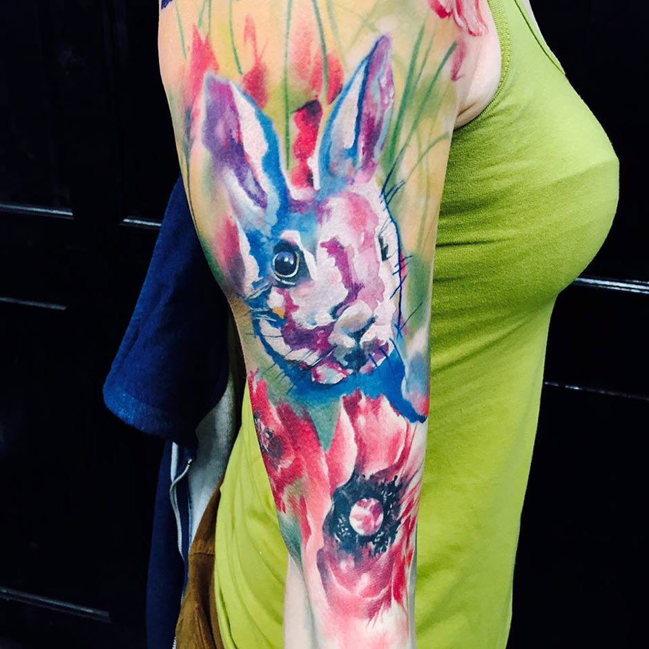 Rabbit Watercolor Tattoo With Flowers | Best tattoo design ...