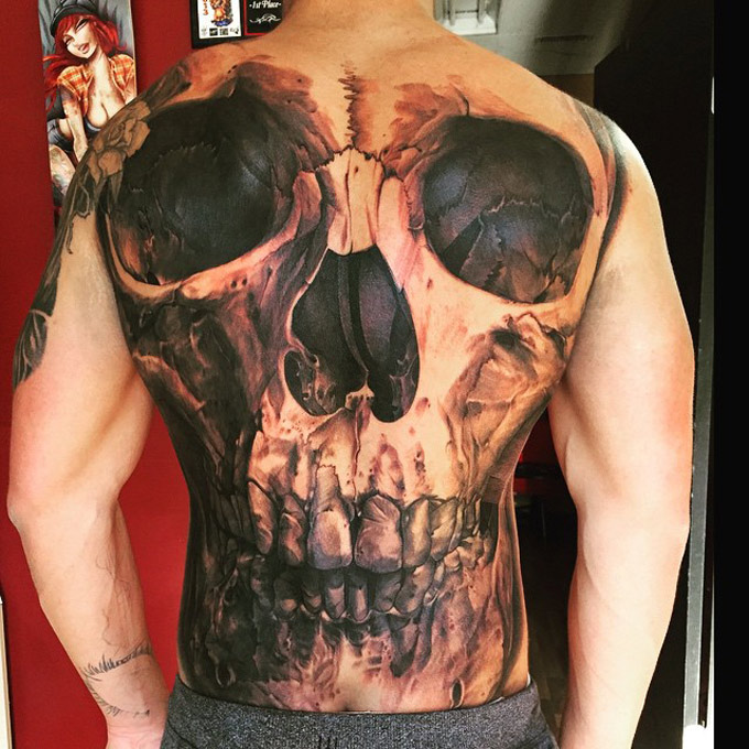 Skull Full Back Tattoo