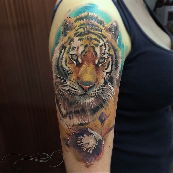 0224b7274 Realistic Tiger Sleeve | Best tattoo design ideas