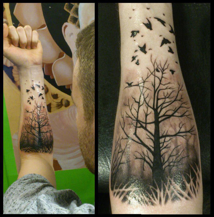 5f34c0d3d Misty Forest With Ravens Forearm Piece | Best tattoo design ideas