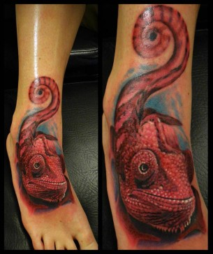 Cameleon Foot Tattoo