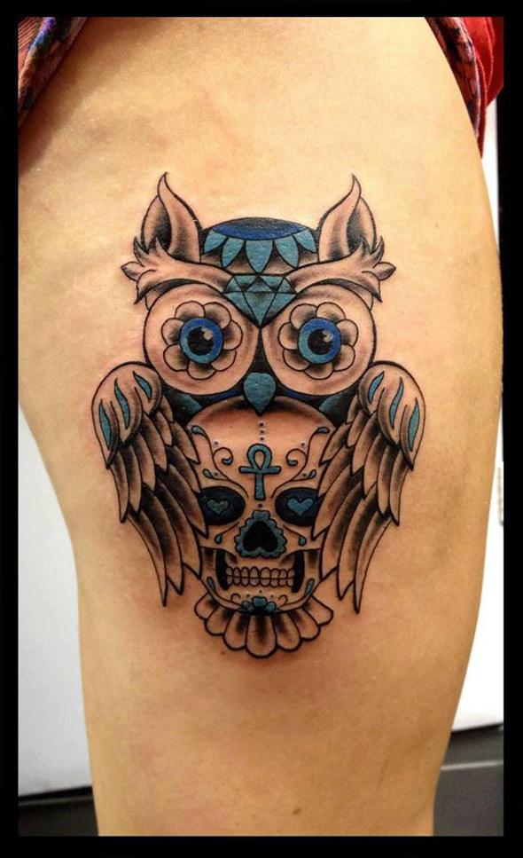 Owl & Skull Thigh Tattoo