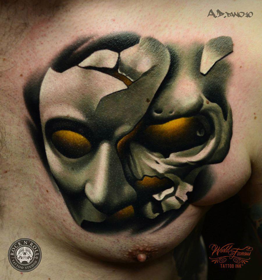 Phantom Mask Chest Tattoo