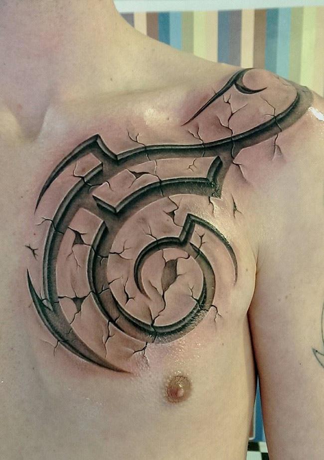 3d tribal chest tattoo | best tattoo design ideas