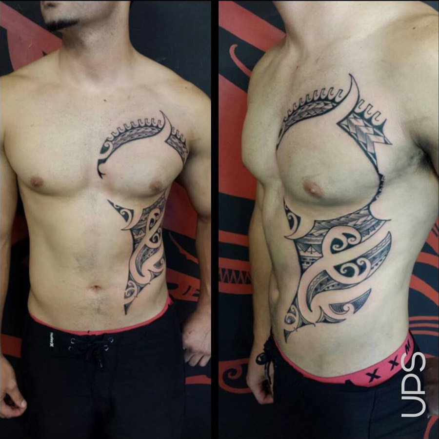 Maori Tribal Tattoo Designs Chest: Contemporary Maori Chest & Stomach