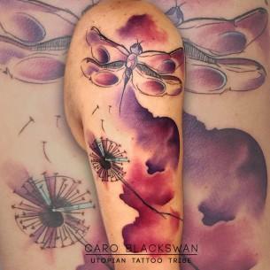 Dragonfly & Dandelion Watercolor