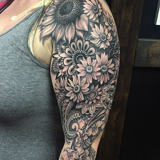 Mandala Flowery Sleeve | Best tattoo design ideas