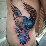 Galaxy Owl Side Tattoo