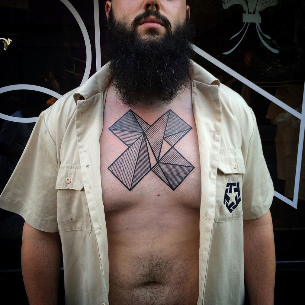 Geometric Shapes Chest Tattoo