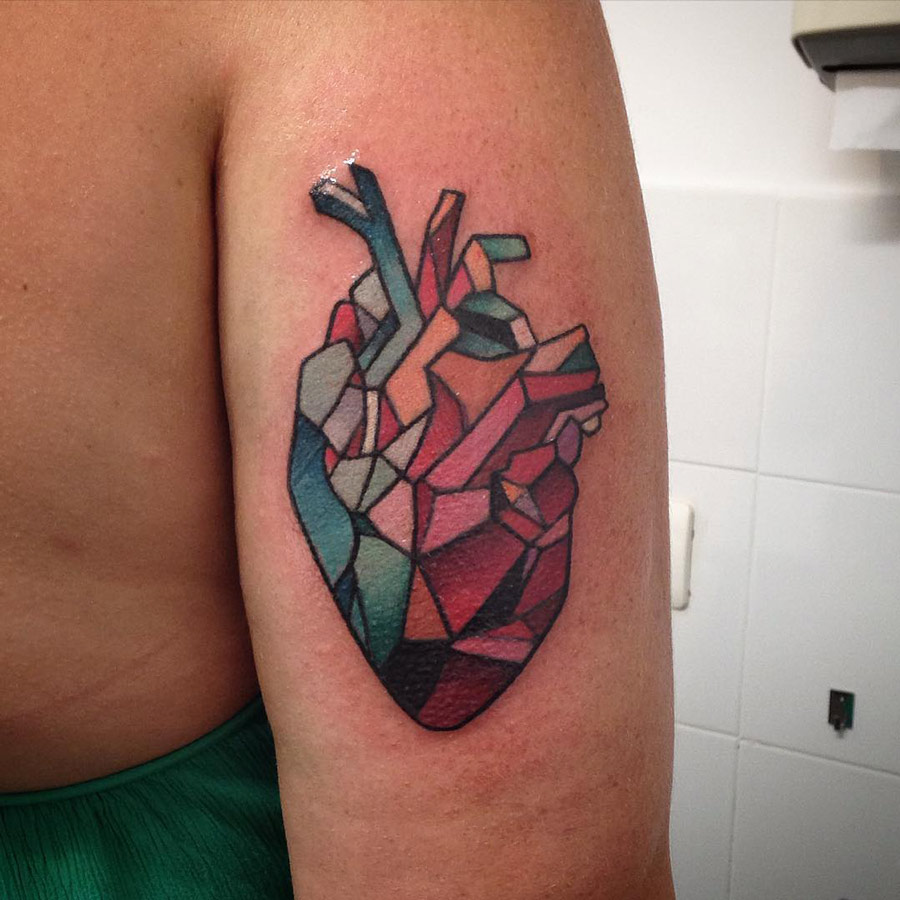cubist heart tattoo best tattoo design ideas. Black Bedroom Furniture Sets. Home Design Ideas