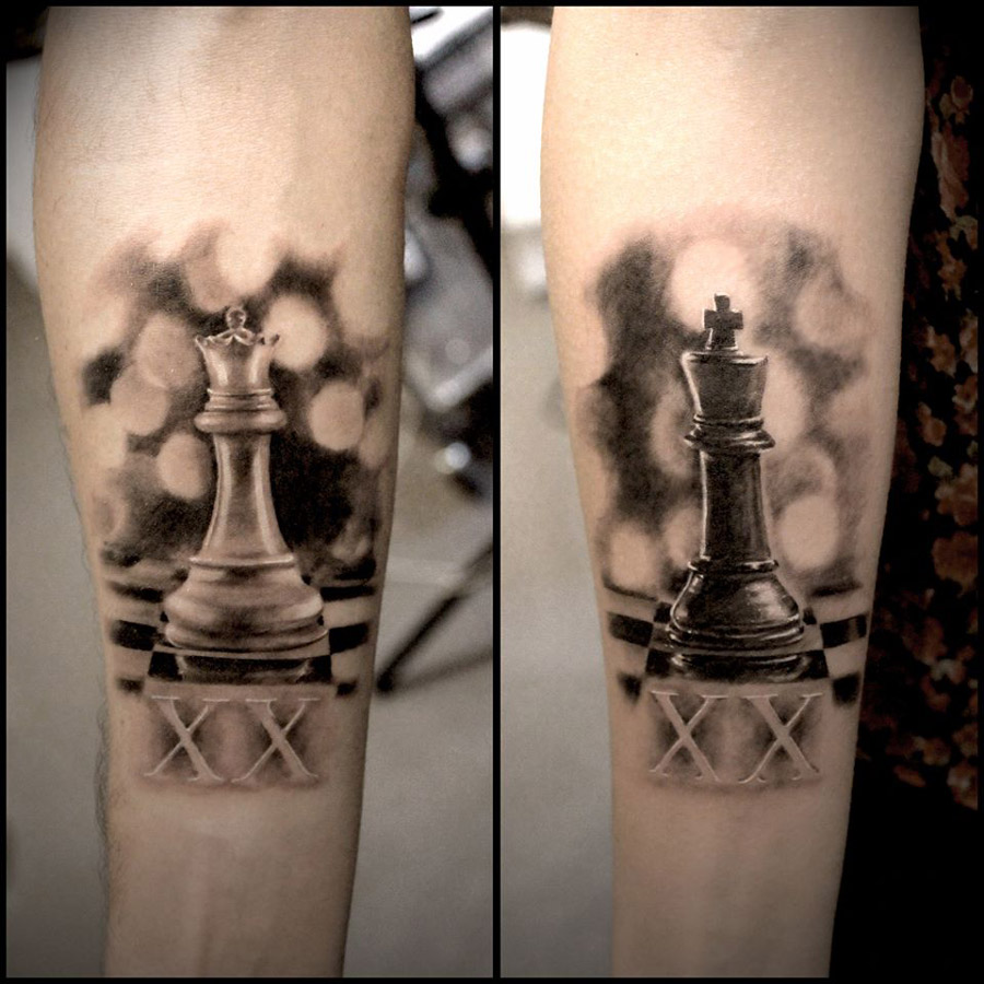 Queen Chess Piece Tattoo On Wrist Couple Tattoos | Best ...