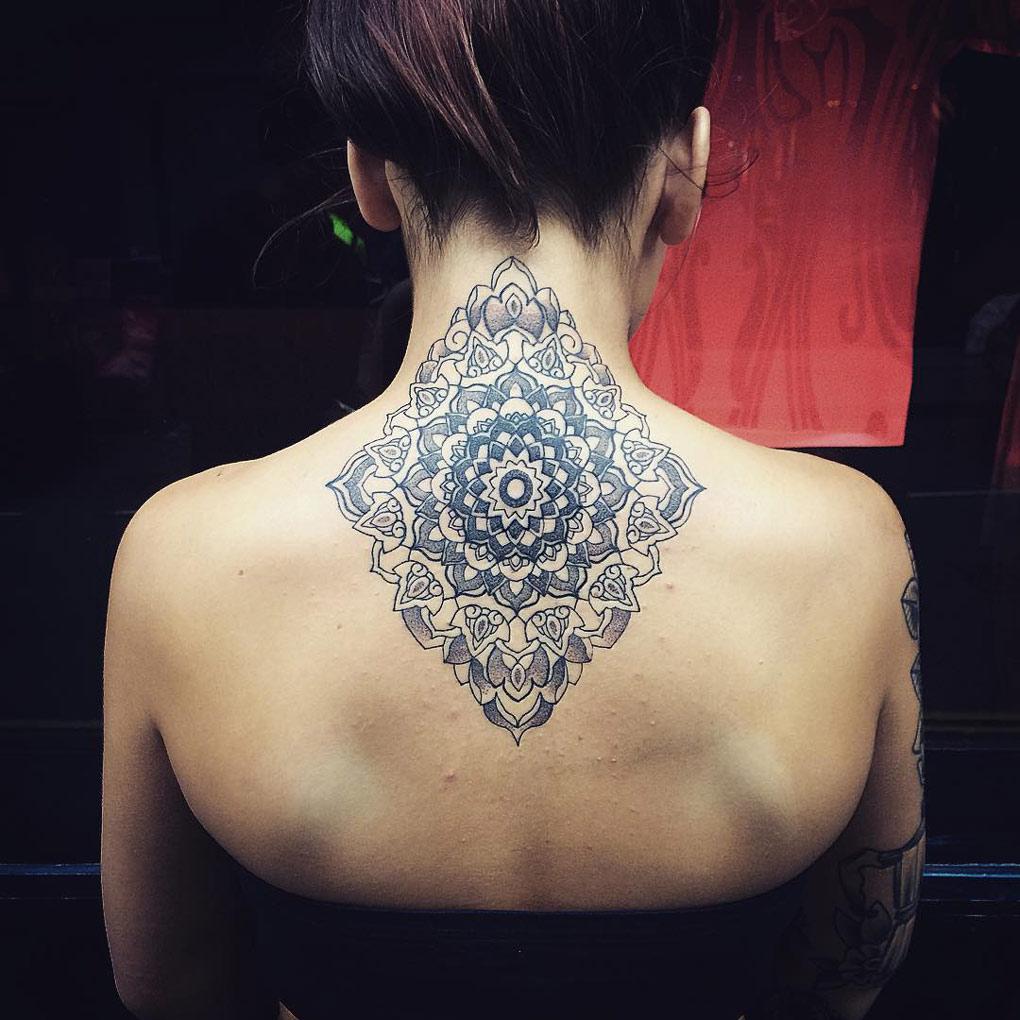 Neck back mandala best tattoo design ideas pretty neck mandala izmirmasajfo Image collections
